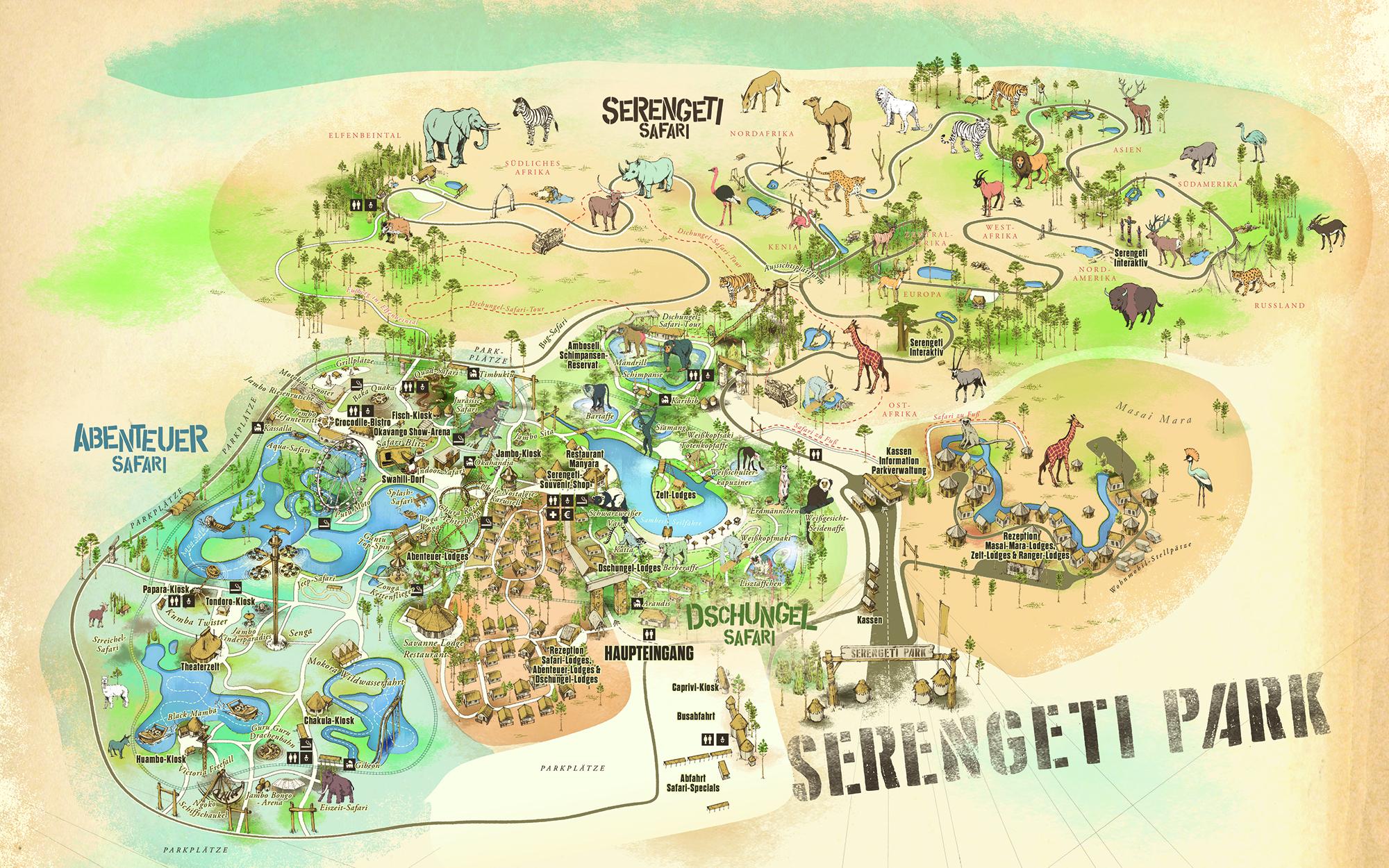 Parkplan 2019 Serengeti-Park Hodenhagen