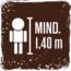 Mindeste Körpergröße für die Nutzung der Fahrgeschäfte 1,40 cm