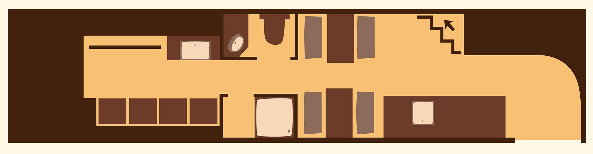Grundriss Erdgeschoss Doppeldecker-Lodge